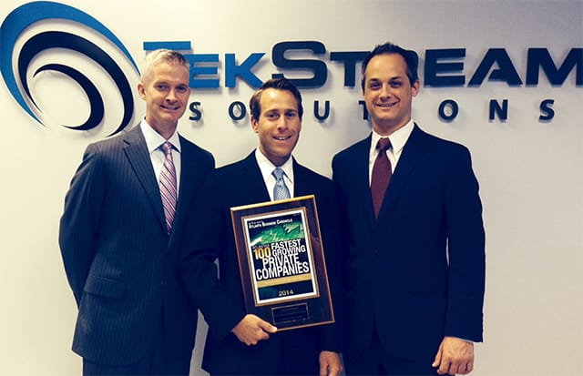 TekStream's Owners from left to right: Mark Gannon (EVP, Talent Management), Rob Jansen (CEO), and Judd Robins (EVP, Sales and Consulting).